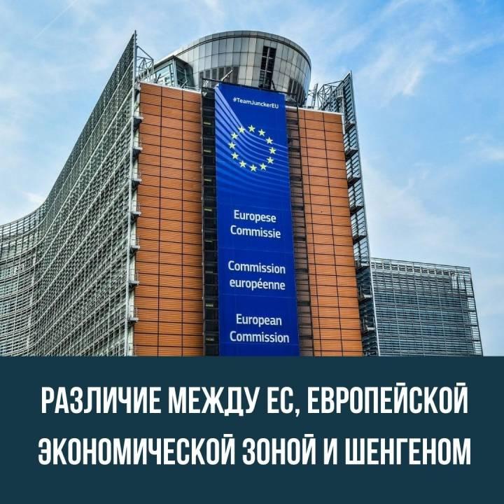 Различие между Евросоюзом, Европейской экономической зоной и Шенгеном