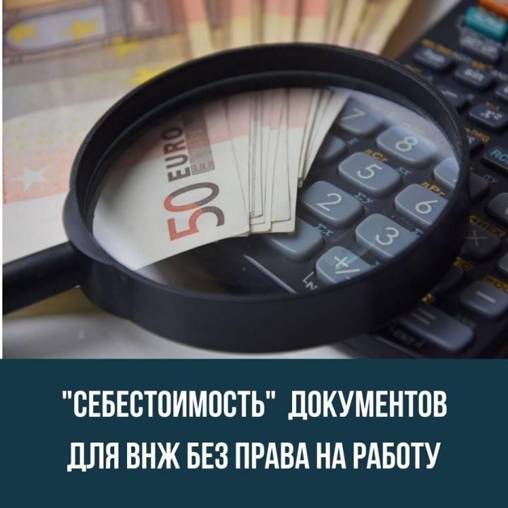 «Себестоимость документов на ВНЖ без права на работу